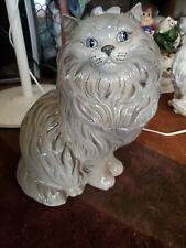 "14"" Vintage Ceramic Statue Figurine Persian Kitty Cat Large Blue-Eyed"