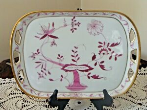 Antique KPM Rectangular Porcelain Tray Onion Pattern In Red