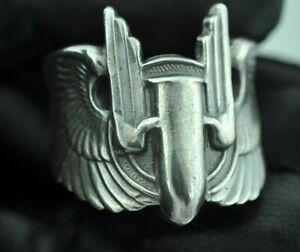 Beautiful 925 Sterling US Army Air Force Bullet Wings Gunner Ring