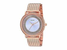 NWT GUESS WOMEN'S ROSE GOLD ROUND STAINLESS STEEL BRACELET WATCH U0836L1