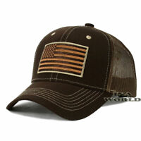 USA AMERICAN Flag Hat Tactical Operator Mesh Snapback Baseball Cap- Brown