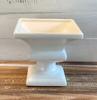 """Vintage Haeger Art Pottery Cream White Pedestal Flower Planter Pot 6.25"""" Tall"""