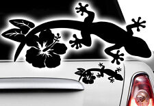 2x Gecko 5x3cm Auto Aufkleber HAWAII Sticker Tattoo Gekko HIBISKUS  Eidechse