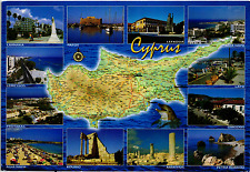 CYPRUS COUNTRY MAP POSTCARD MULTIVIEWS AND STAMPS
