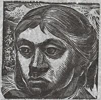 CARLOS HERMOSILLA ALVAREZ Signed Linocut YOUNG FEMALE PORTRAIT 1960