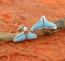 Whale Tail Larimar Earrings,Silver,Sea Life,Post,Cute Gift,Girl's Jewelry,Ocean