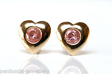 9ct Gold Pink CZ Heart Earrings Studs Made in UK Gift Boxed Xmas Christmas Gift