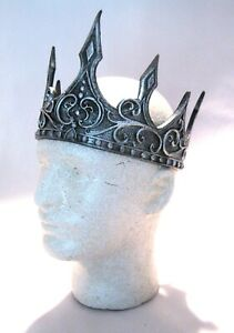 Iron Crown Fantasy Spiked Silver Royal King Adult Halloween Costume Accessory
