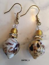 Original Murano Earrings Torch Glass Beads with gold and silver leaf