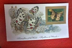 1981 BEAUTIFUL BUTTERFLIES OF WORLD PRESTIGE STAMP CARD POLAND THE APOLLO