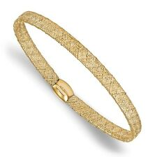 """Ladies 14k Yellow Gold Leslies Fancy Stretch Flexible Mesh Bangle Bracelet 7.5"""""""