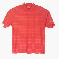 Nike Golf Mens Size XL Polo Shirt Striped Embroidered Swoosh Short Sleeve