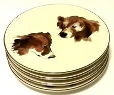 "Very Rare! Four ISAAC MIZRAHI Live QVC ""Harry"" Dog 8.5"" Plates! FREE SHIPPING!"
