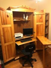 Home Office Remote Workstation Computer Desk Wood Armoire Cabinet