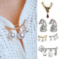 Fashion Wedding Bridal Crystal Pearl Flower Animal Elk Brooch Pin Cardigan Clip