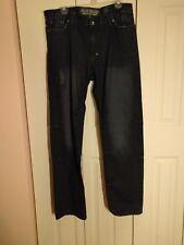 Men's Akoo Distressed Blue Jeans Size 34 Inseam 32 Straight Leg Hip Hop