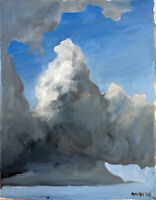 """Cloud Sky Abstract Landscape Oil Painting Original Signed Canvas 14""""x11"""""""