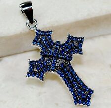 2CT Blue Sapphire 925 Solid Genuine Sterling Silver Cross Pendant jewelry
