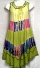 Women Clothing Tie Dye Sundress Summer Beach Sun Dress Lime Purple Free Size