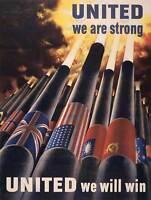 PROPAGANDA WAR WWII ALLIES UNITED VICTORY ARTILLERY ART PRINT POSTER BB7155B