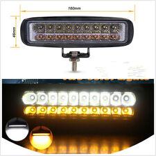 "6"" Dual Color Amber+White 18LED 54W Combo Beam LED Autos Work Light DRL Fog Lamp"