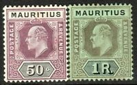 Mauritius 1910 purple/black 50c black/green 1r multi-crown CA mint SG191/192