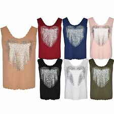 Women Ladies Crepe Scallop Edge Foil Heart Print Sleeveless Vest Top Plus Size