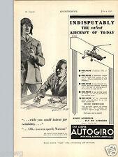 1936 PAPER AD Airplane The Cierva Autogiro Helicopter Hillson Praga 40 HP