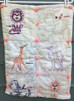Handmade Quilt - Child/Lap/Wall Hanging - Vintage Embroidered Zoo Animals
