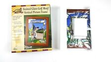 Club house stained glass motif  4 X 6 photo wood frame