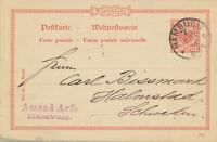 Ganzsache Auslands Postkarte mit 10 Pfg Adler n. Schweden, Hamburg 1894