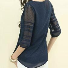 Blouses Tops Half Sleeve O-Neck Lace Casual Chiffon Fashion High Quality Summer