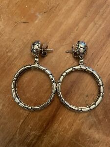 John Hardy Kali Pebble Dangle Hoop Earrings