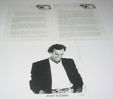 Julio Iglesias Original Vintage Press Releases + Photo  1990 1994 Columbia Latin
