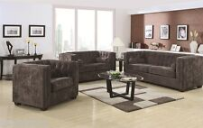 Alexis Transitional Charcoal Chesterfield Sofa Set with Track Arm 3P Living Room