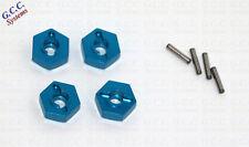 Azul 12 mm rueda Hex montaje y Pin para los modelos 1/10 - Juego de 4-Nuevo