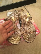 Nicole NEW women's ladies gold sandals 7 slippers shoes b110 snakeskin jewel