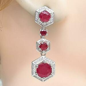 World Class 5.40ctw Mozambique Ruby Diamond Cut White Sapphire 925 Earrings 9.4g