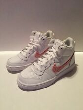 NIKE Girl's Court Borough Mid (GS), White/Rust Pink-Coral Stardust Size 3.5 M US