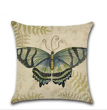 Butterfly Pattern Home Decor Throw Pillow Case Cotton Linen Sofa Cushion Cover