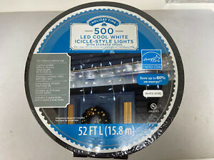 New ! 500PK Cool White LED Icicle Lights White Wire 52 FT Long  UL Listed