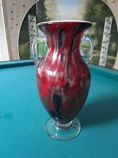 MURANO ITALY RED GLASS HAND BLOWN VASE, RED AND GOLD [bAr]