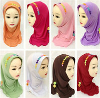 Ramadan Muslim Kids Girls Hijab Scarf Islamic Flower Caps Shawls Amira Headscarf