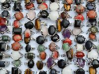 FREE Wholesale Lots Mixed 5Pcs Big Natrual gemstone stone Silver P Rings