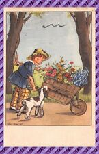 Postcard Child and Wheelbarrow flower