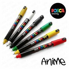 Posca PC-1MR Anime Set - 6 Pens in Plastic Wallet - Red, Yellow, Green, Black, W