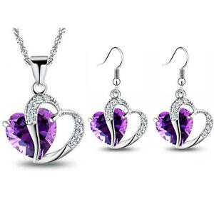 Jewellery Zircon Set Earrings Necklace Purple Sapphire Blue Red and Green Hearts