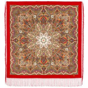 Authentic Russian Pavlovo Posad Scarf Shawl Stole Paisley Ethno Folk 100% Wool