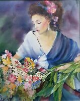 Original Nancy Woodland French Portrait of a Woman Bouquet Watercolor Painting