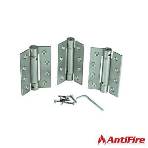 3x Fire Rated Self Closing Adjustable Door Hinges - Stainless Steel, Brass